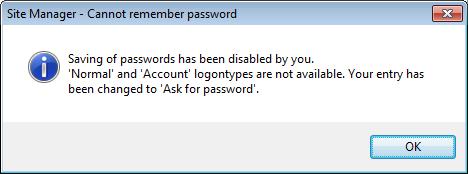 Saving of Password Filezilla