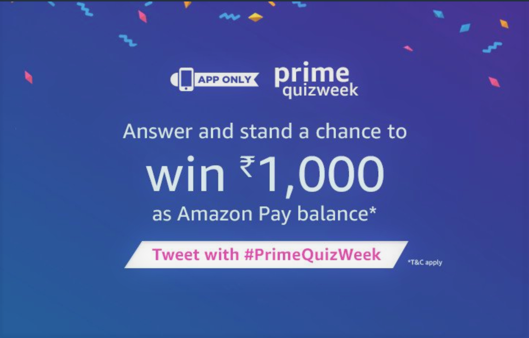 Amazon PrimeQuizWeek Answers To Win INR 1,000
