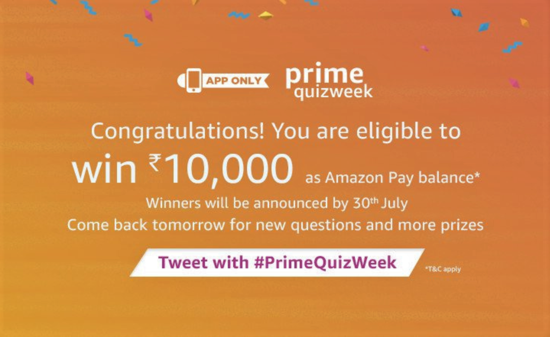 Amazon Prime QuizWeek Answers To Win INR 10,000