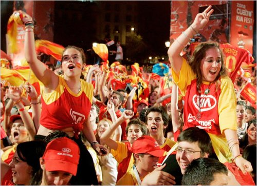 Happy Spaniards After Spain Wins