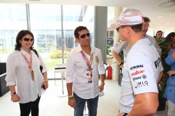 Sachin With Wife Anjali - Michael Schumacher
