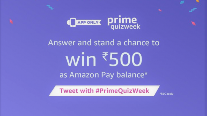 Amazon Prime QuizWeek Answers To Win INR 500